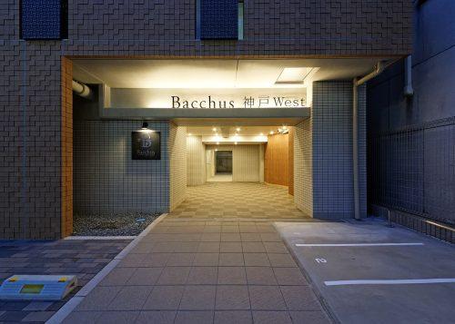 バックス神戸West:アプローチ(夕景)